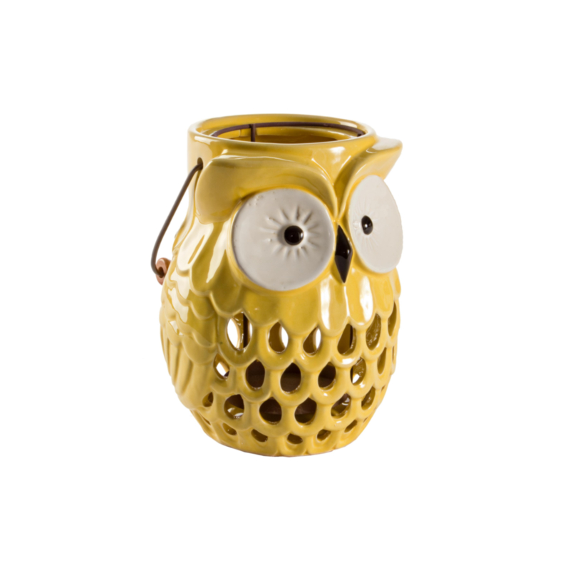OWL YELLOW CANDLE HOLDER
