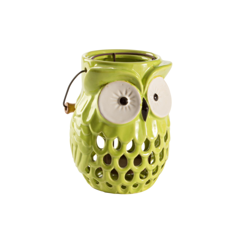 OWL GREEN CANDLE HOLDER