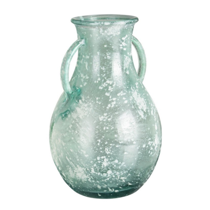 ARLEEN ICE GLASS AMPHORA VASE H32