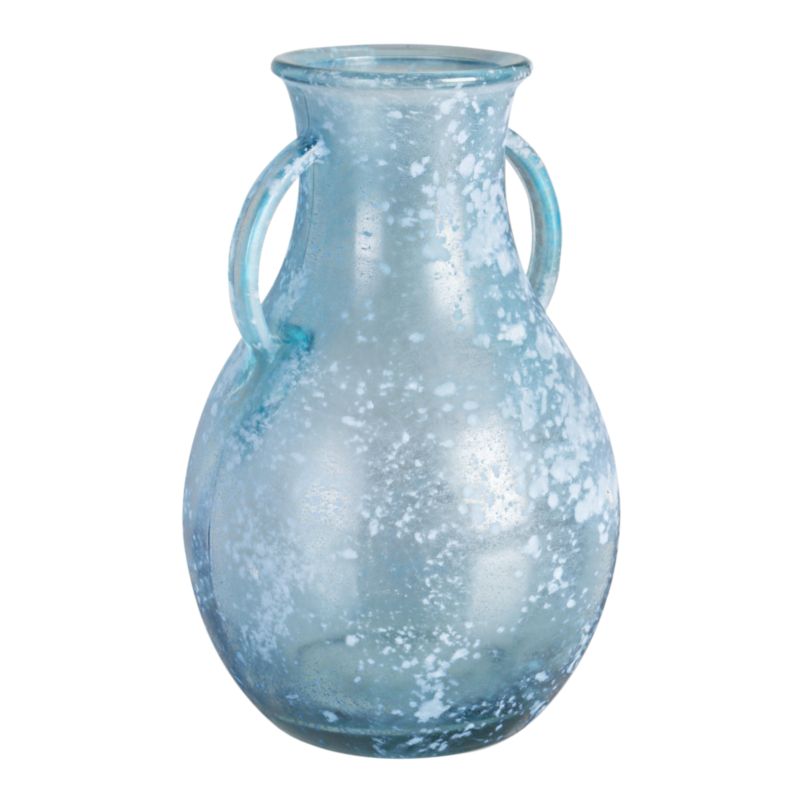 ARLEEN SEA BLUE GLASS AMPHORA VASE H32