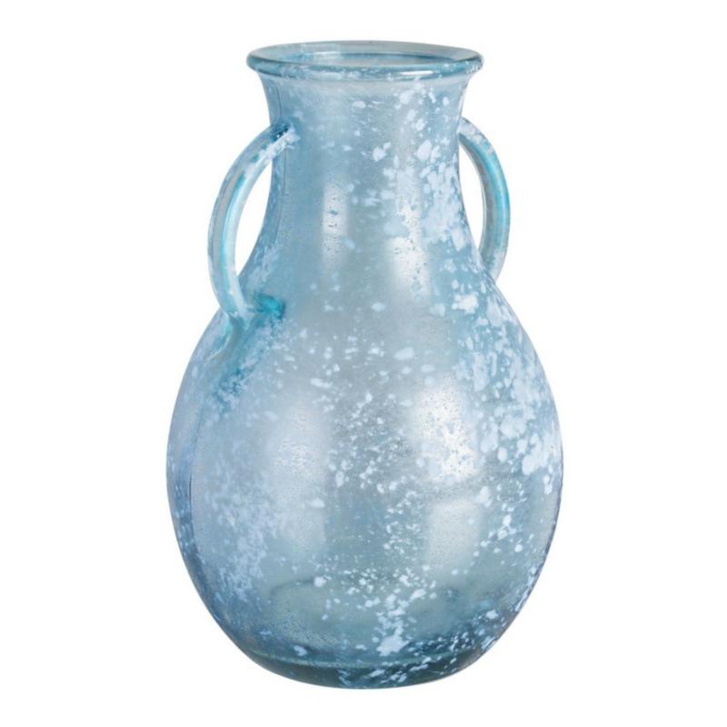 ARLEEN SEA BLUE GLASS AMPHORA VASE H32