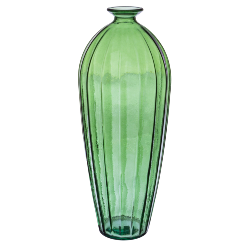 ALEXANDRA GREEN GLASS SLICE VASE H56