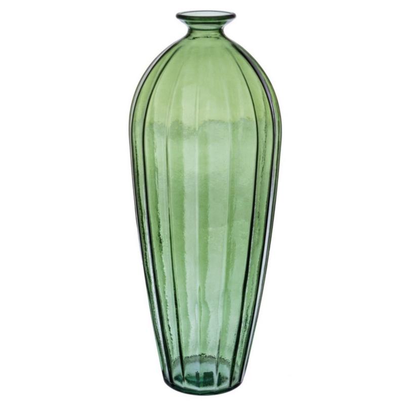 ALEXANDRA GREEN GLASS SLICE VASE H56