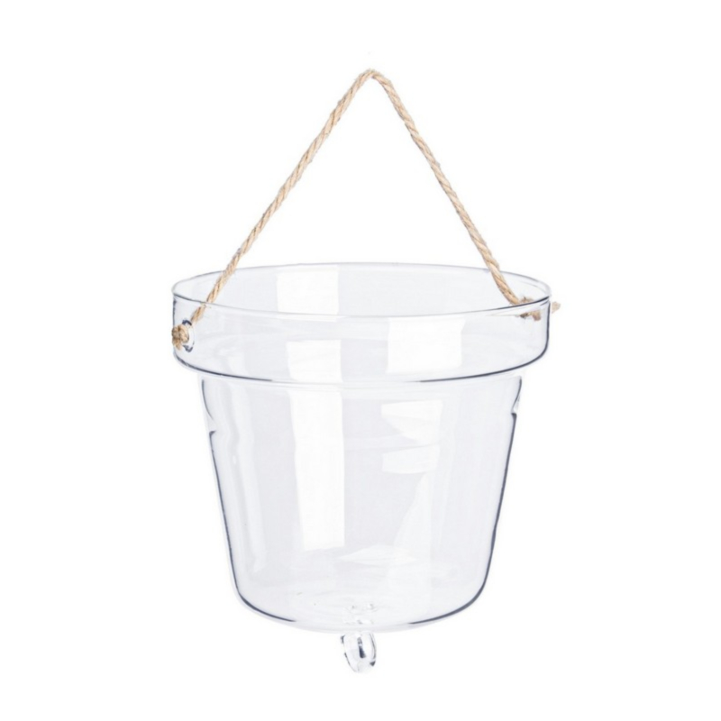 BELL CLEAR VASE W-ROPE