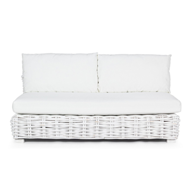 OLIVENZA WHITE SOFA 2 SEATS W-CUSH