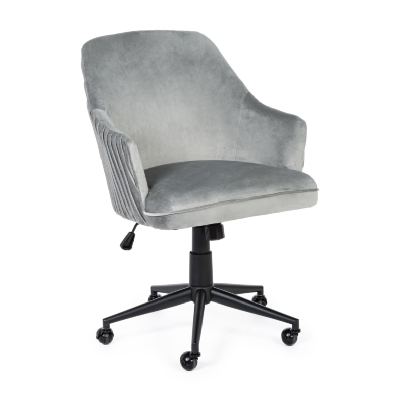 KATE GREY VELVET OFFICE CHAIR