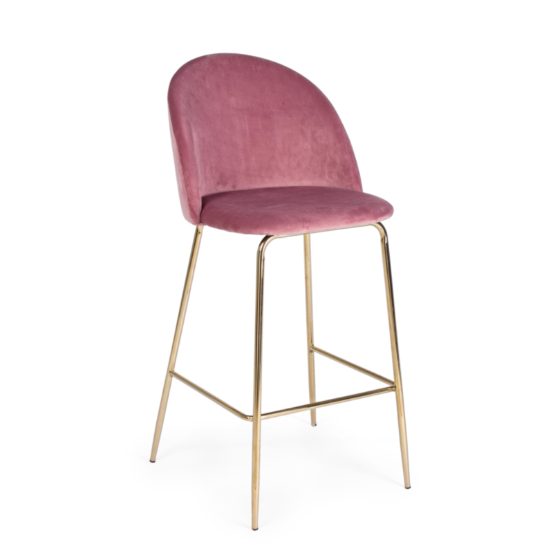TABOURET BAR CARRY VELOURS BLUSH