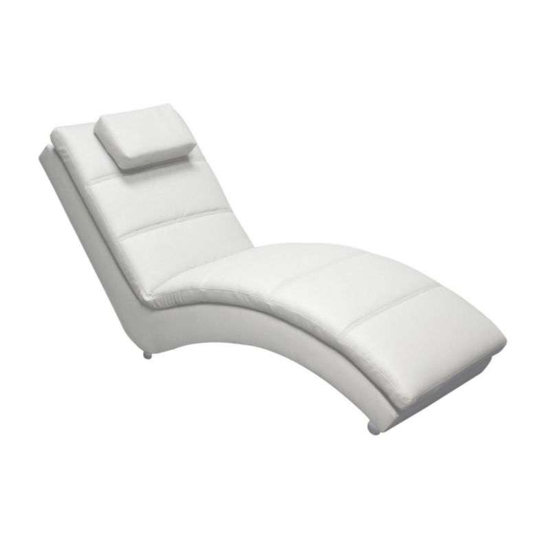 CHAISE LONGUE IN ECOPELLE BIANCO - YVONNE