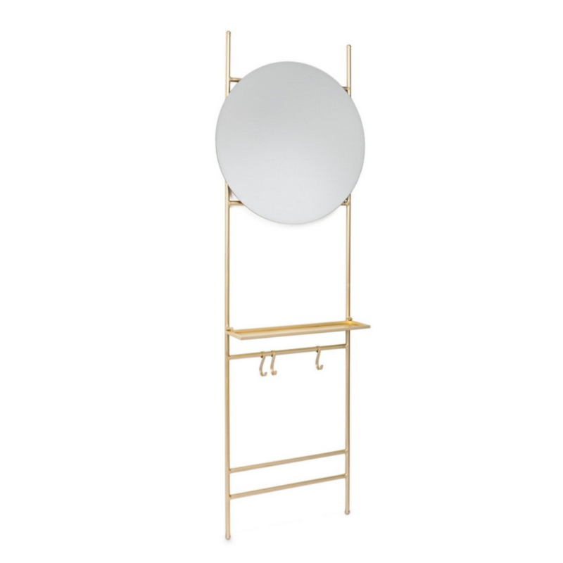 NUCLEOS GOLD WALL SHELF WITH MIRROR
