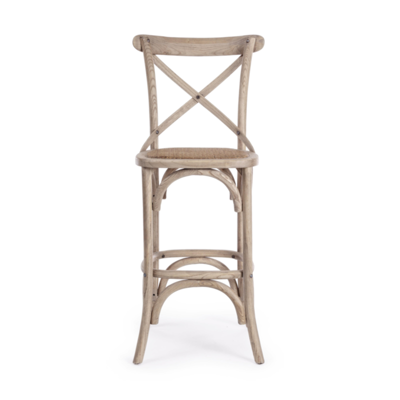 TABOURET BAR CROSS GRIS NATUREL