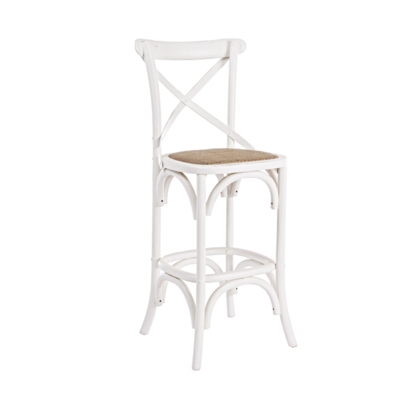TABOURET BAR CROSS BLANC