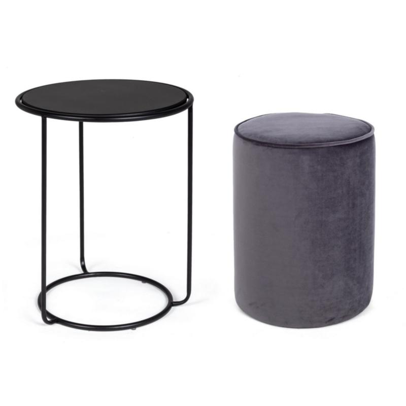 ANNIKA DARK GREY SET2 COFFEE TABLE-POUF