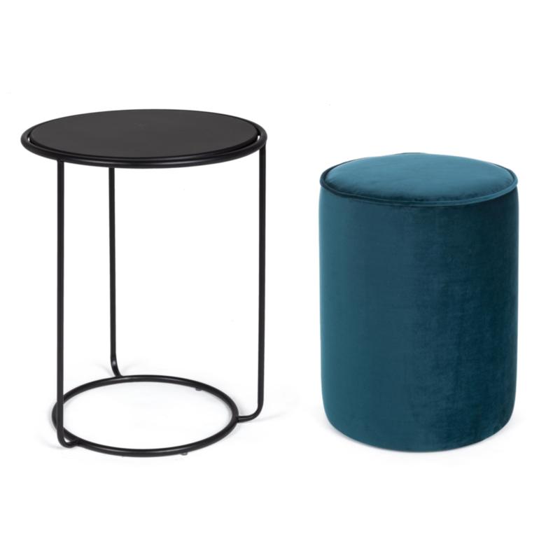 ANNIKA PEAC.BLUE SET2 COFFEE TABLE-POUF