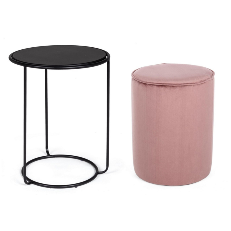 ANNIKA ANT.PINK SET2 COFFEE TABLE-POUF