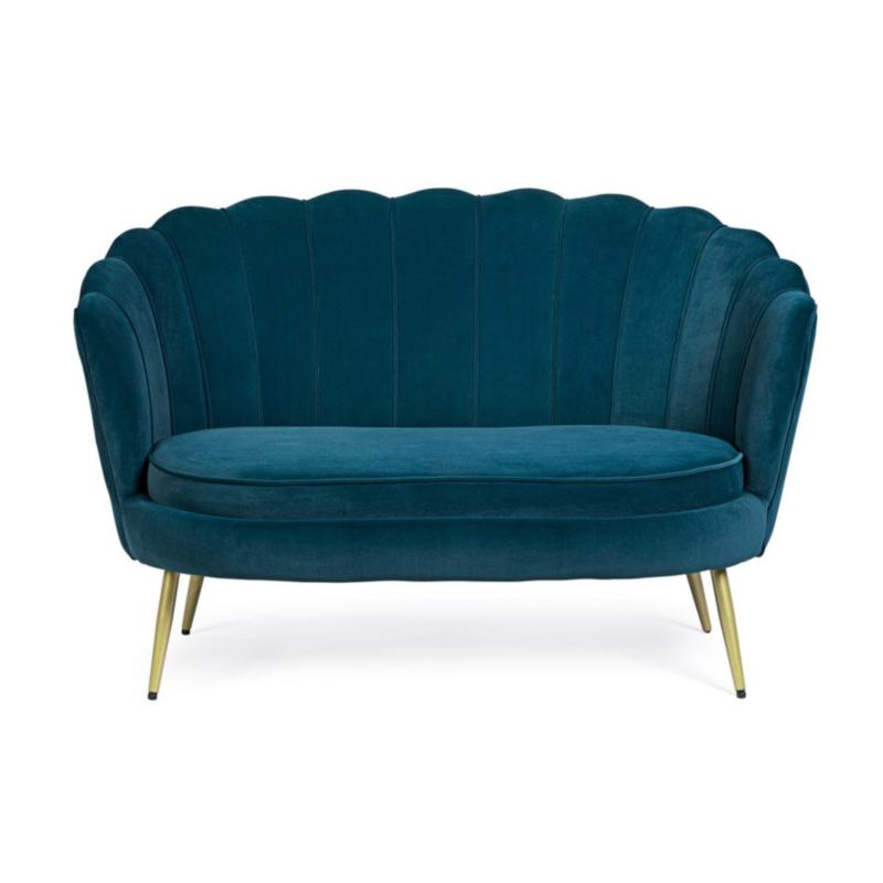 GILIOLA BLUE PEACOCK SOFA 2 SEATS