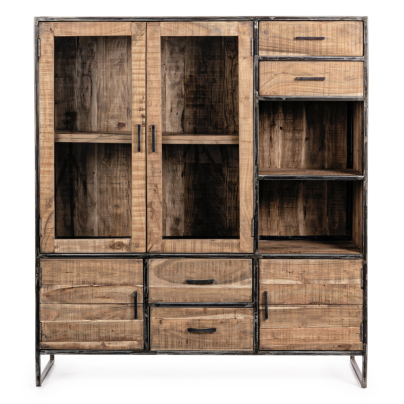 ELMER SIDEBOARD W-GLASS CABINET 4DO-4DR