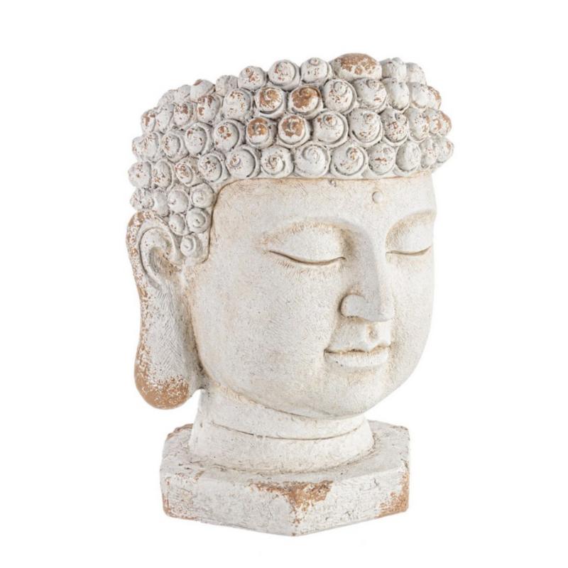 BUDDHA HEAD ROUND MAGNESIA VASE D35