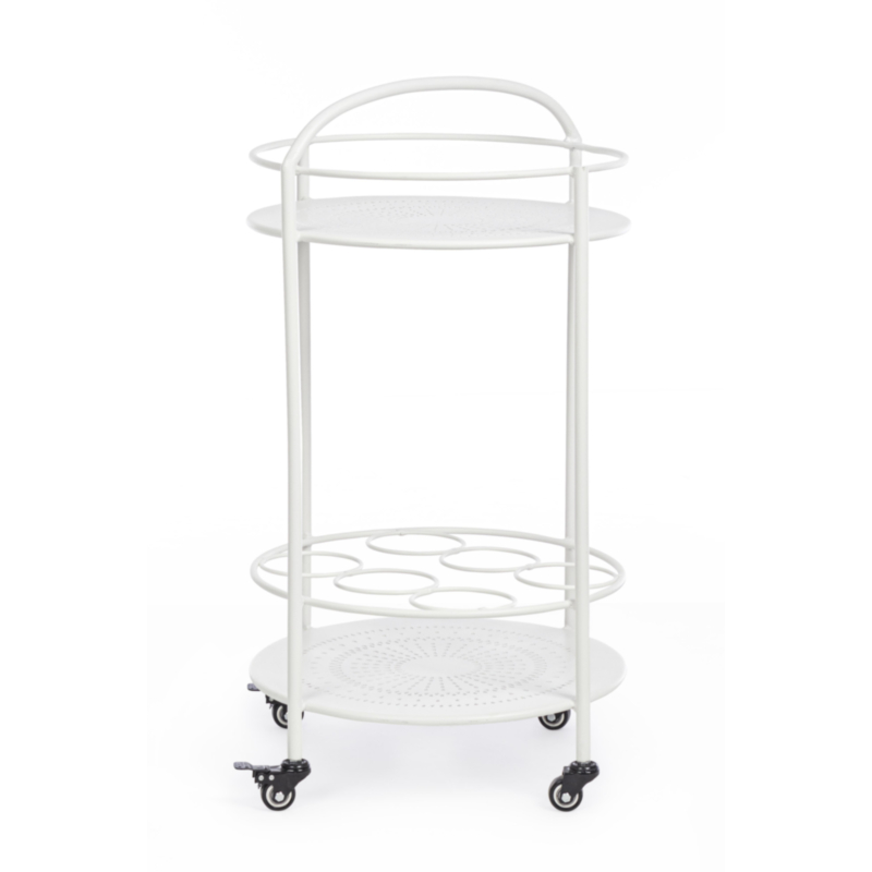 BURTON WHITE TROLLEY W-BOTTLE RACK