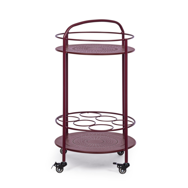 BURTON BURGUNDY TROLLEY W-BOTTLE RACK