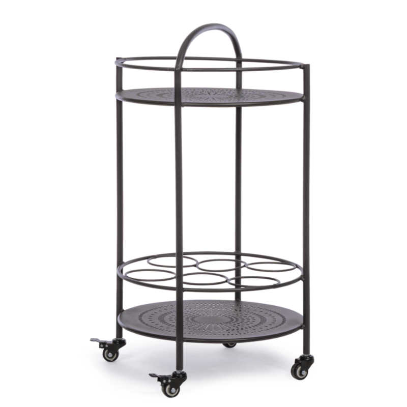 BURTON CHARCOAL TROLLEY W-BOTTLE RACK