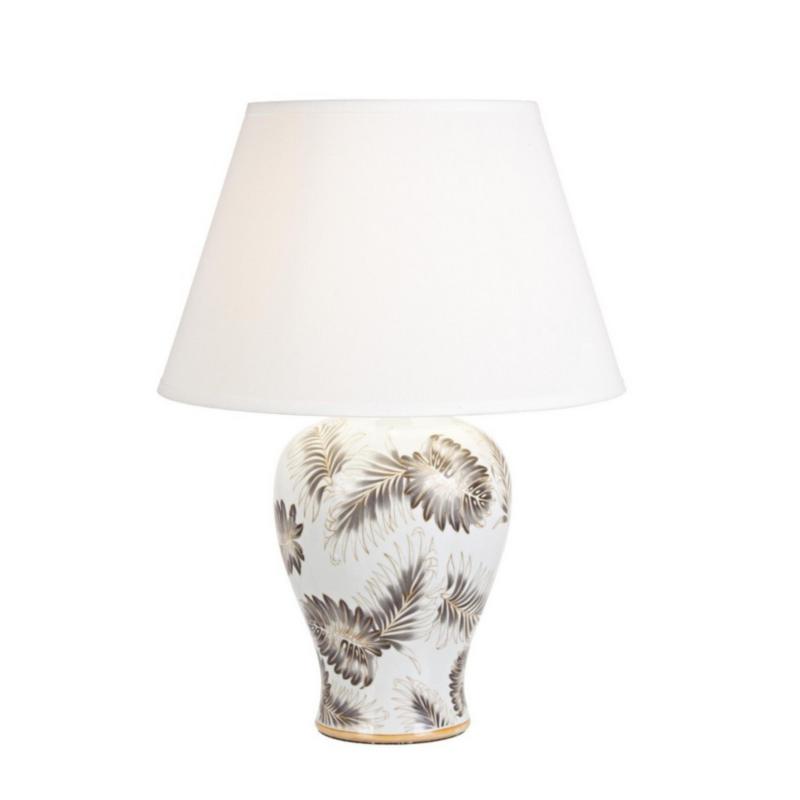 LAMPE DE TABLE FEUILLE PORCELAINE H64