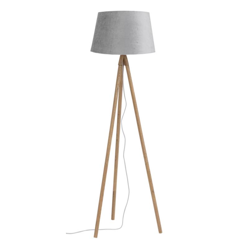 LAMPADAIRE TRÉPIED WALLAS VELV GRIS H152