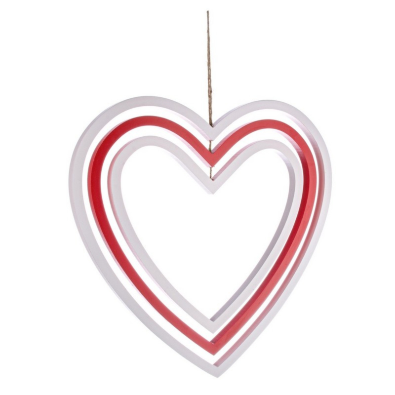 ORNAMENT HEART RED-WHITE