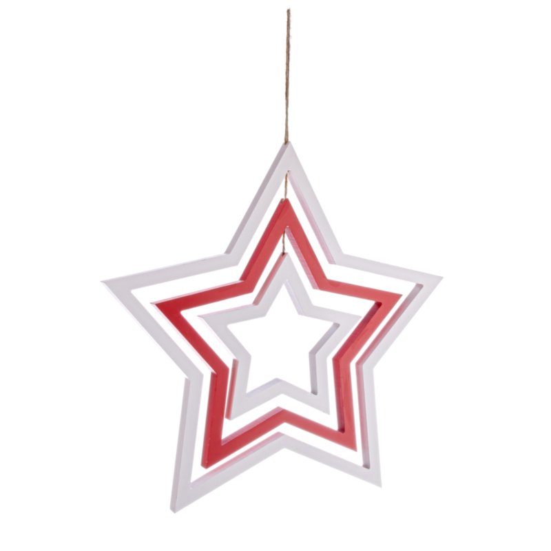 ORNAMENT STAR RED-WHITE
