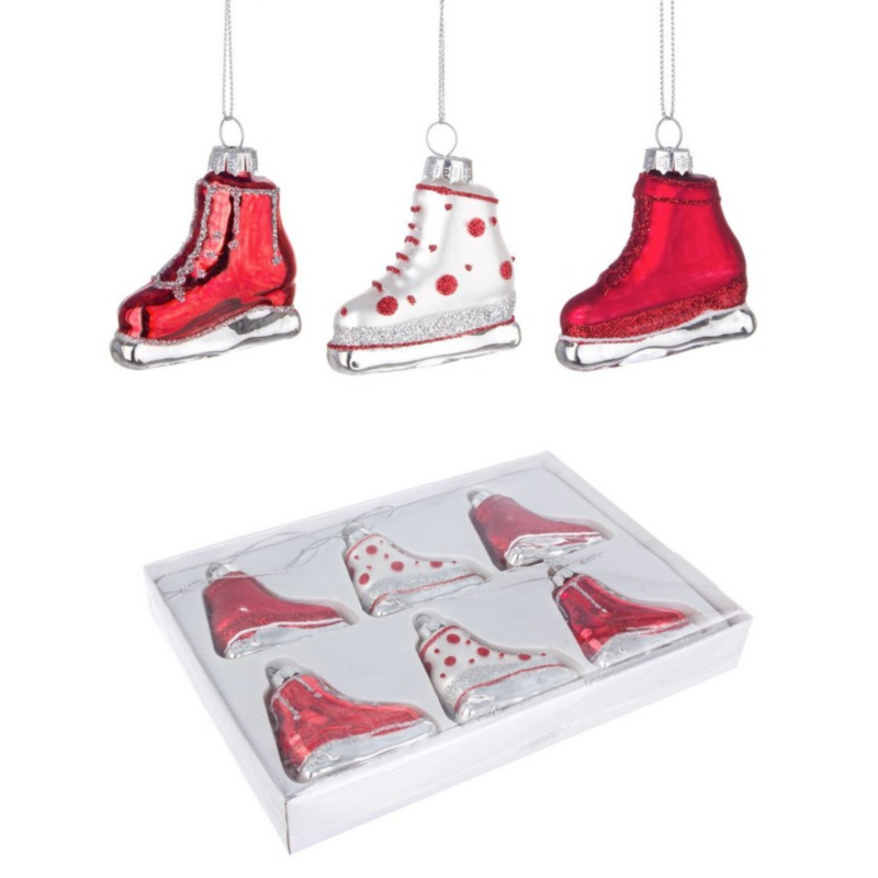 BOX6 ANGY RED ICE SKATE GL ORNAMENT ASST
