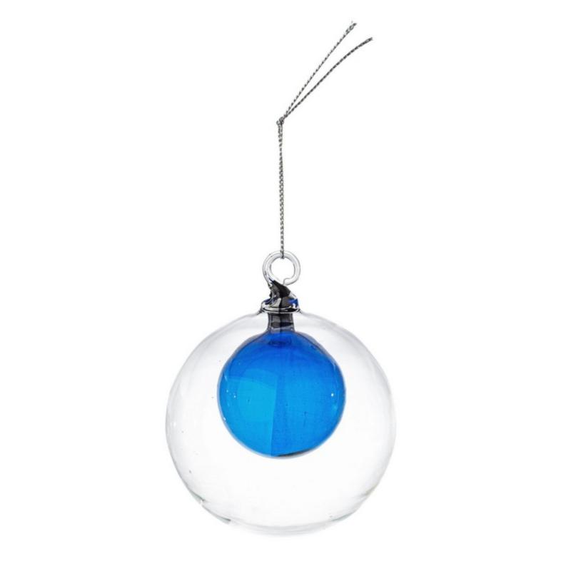 DUAL BLUE GLASS BALL D80