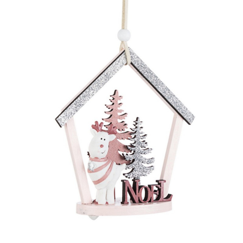 BRITTANY PINE ORNAMENT PINK W-REINDEER