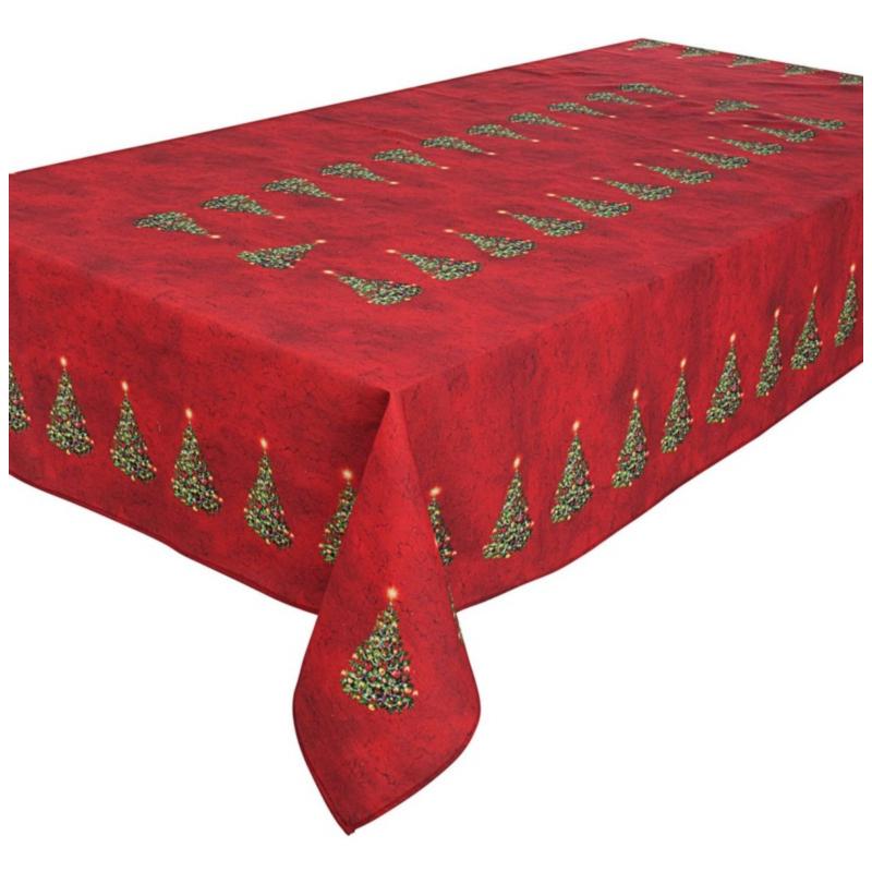 XMAS TREE RED TABLECLOTH 140X300