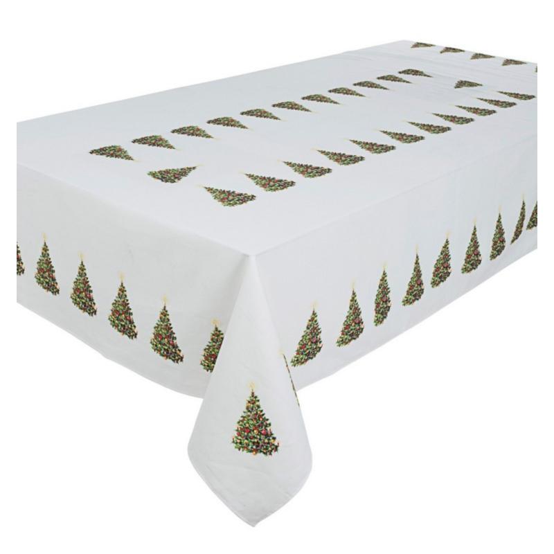 XMAS TREE WHITE TABLECLOTH 140X220